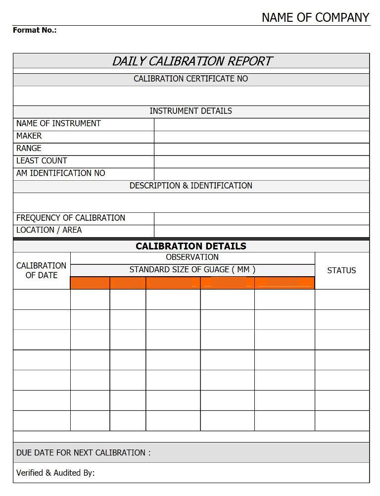 Daily Calibration Report | Report | Sample | Word Document Format | Excel  Format | PDF Format | JPG Format | Free Download