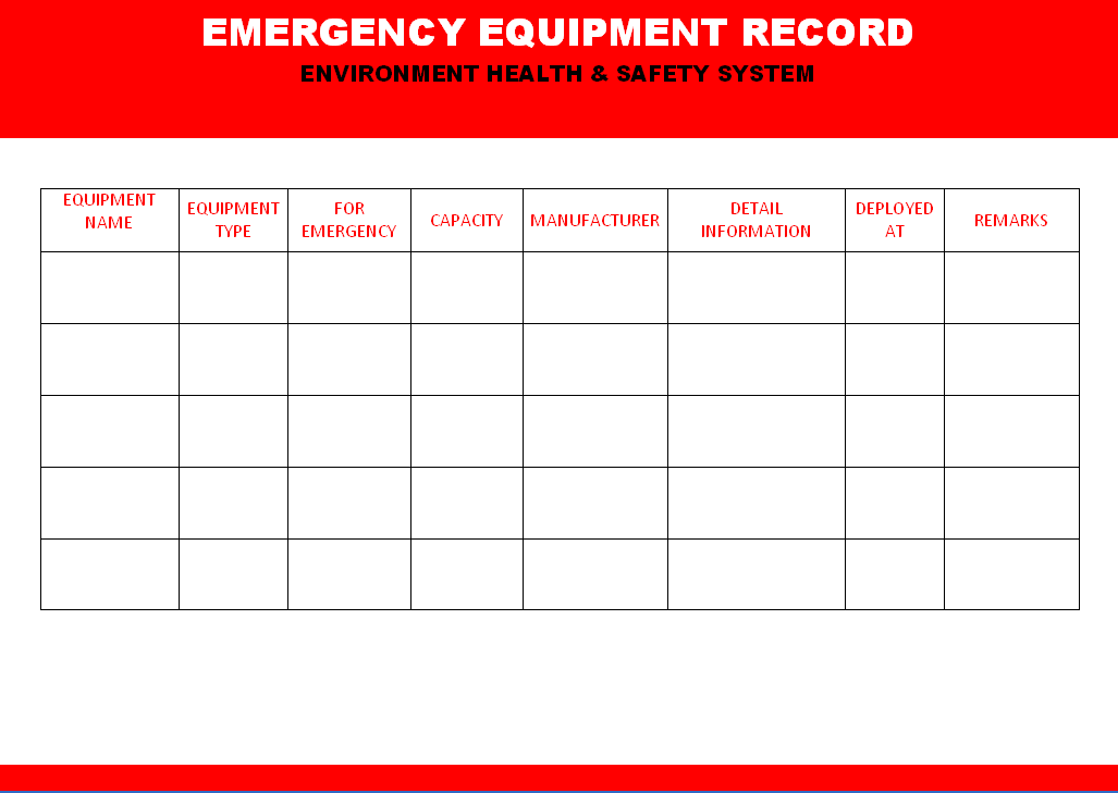 pat testing record sheet template - emergency equipment record format samples word document